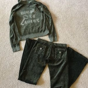 Juicy Couture Olive Green Velour Tracksuit size XS